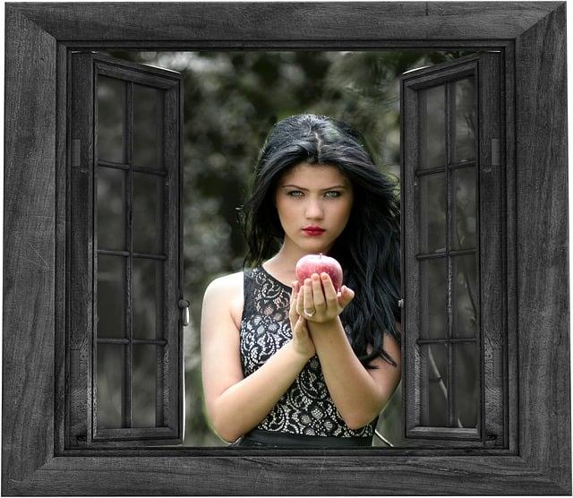 free illustration  girl  window  outside  apple