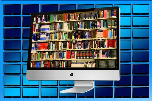 Electronic library signifying 40 advantages and disadvantages of printed books and eBooks