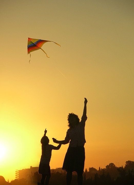 Kite, Mother, Family, Sky, Happy, Flying, Playful