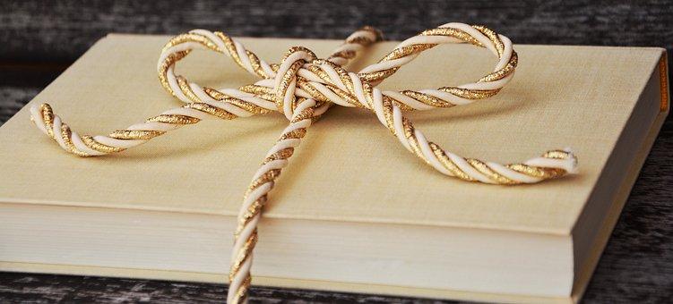 本, ギフト, 臍帯, ゴールドコード, 黄金の, 包装, パック, ギフト包装