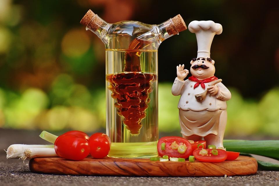 料理, フィギュア, 酢, 油, トマト, タマネギ, ばねのタマネギ, 食品, ボトル, 健康, 野菜