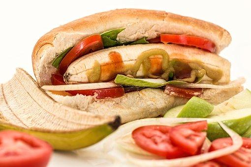 Hot Dog, Banana, Salad, Unexpected