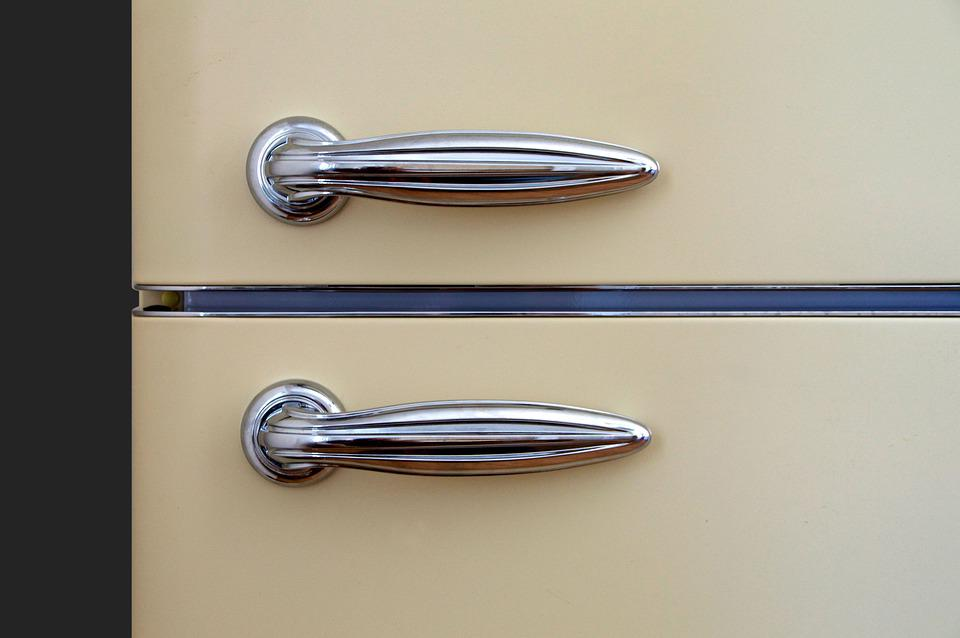 Handles, Door, Refrigerator, Chrome, Reflection, Metal