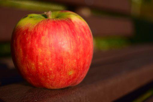アップル, 銀行, 塞ぎます, 健康, ビタミン, 赤, 熟した, フルーツ