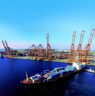 Port, Sea, Cargo Ships, Crane