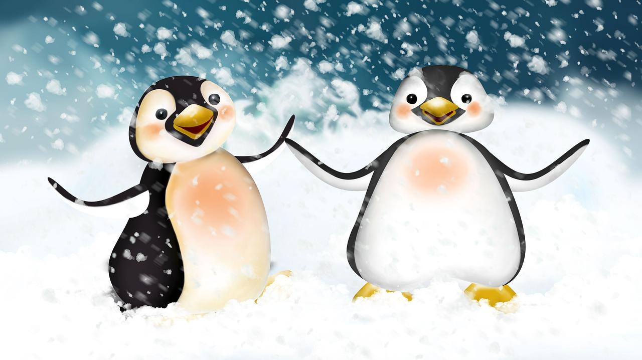 Смешные пингвины рисунки, картинки качели
