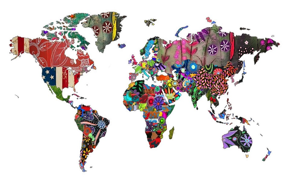 world map countries continents colorful abstract