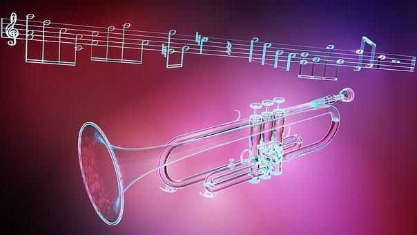 Music, Trumpet, Light Effects, 3D