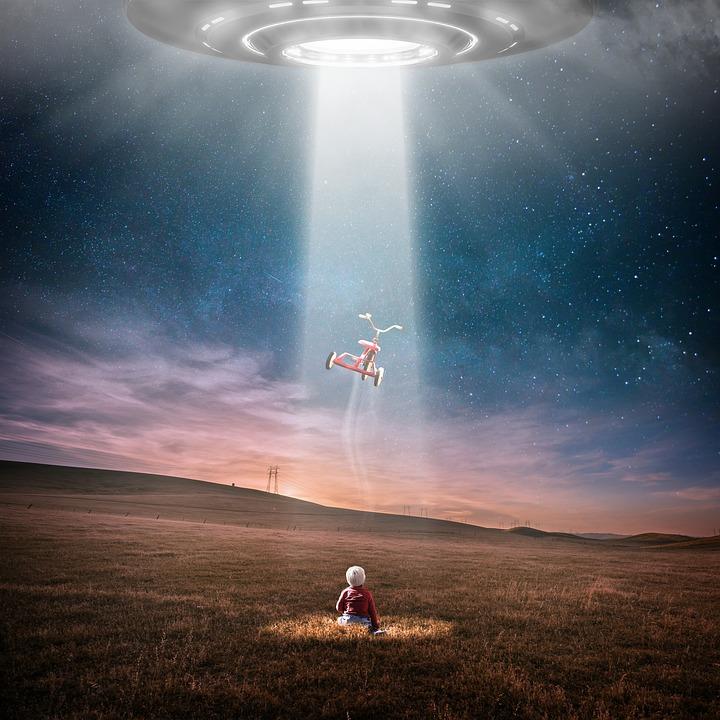 Ufo, Abduction, Fantasy, Bicycle, Child, Baby, Alien