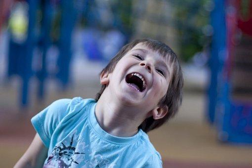 子, 笑い, 幸せ, 遊び場