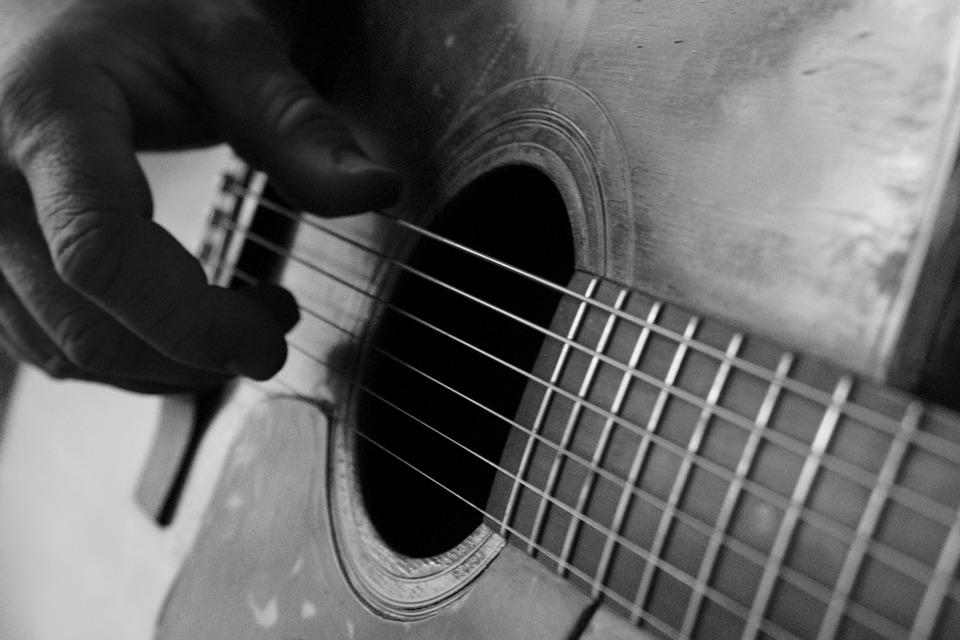 Guitar Finger Picked Acoustic Hand Black And White