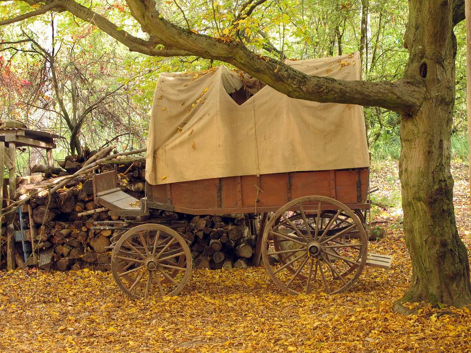 Covered Wagon, Wooden Cart, Wagon, Nostalgic, Wheel