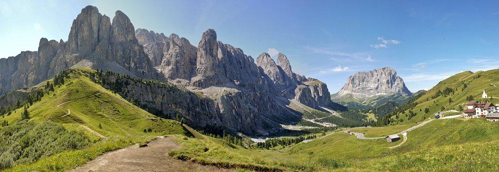 Berge, Grödner Joch, Dolomiten
