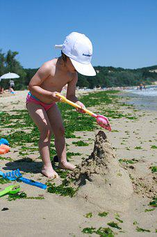 Sea, Game, Sand, Seaweed, Child, Girl