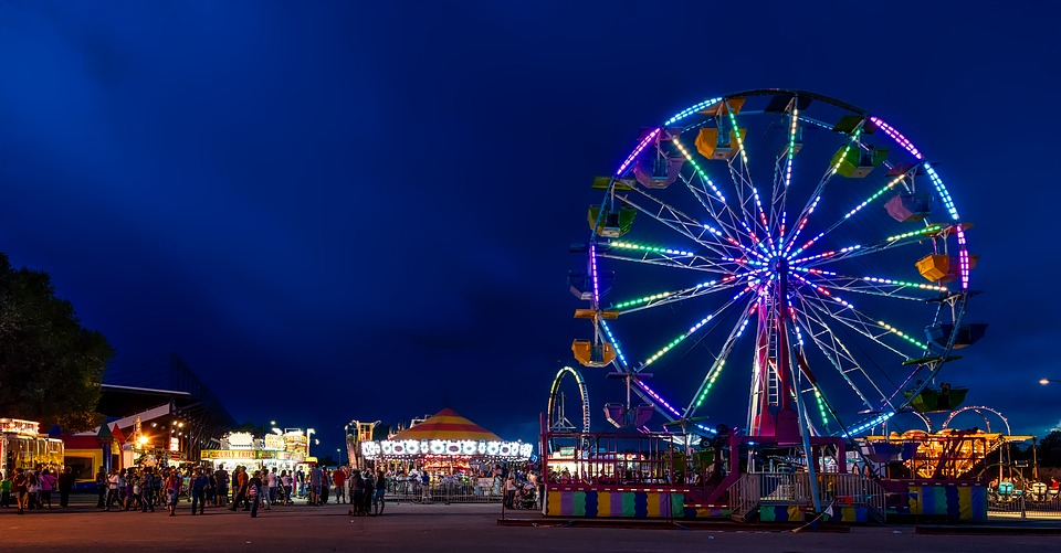 Wyoming, State Fair, Ferris Wheel, Rides, Night