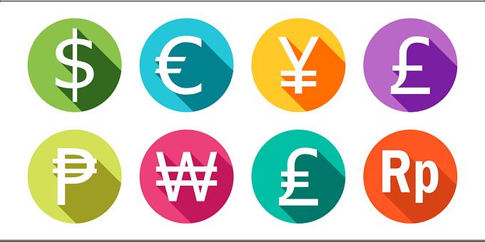 通貨, ドル, ユーロ, 円, ポンド, メキシコペソ, ウォン, リラ