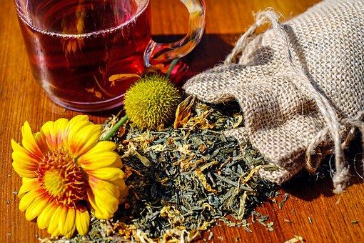 Tee, Örter, Mix, Torkade, Glas, Dryck