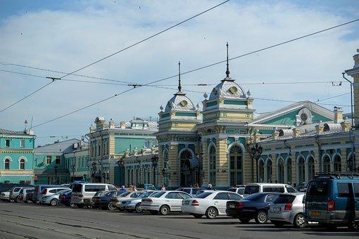 Fachada de Estación de ferrocarril de Irkutsk, Rusia