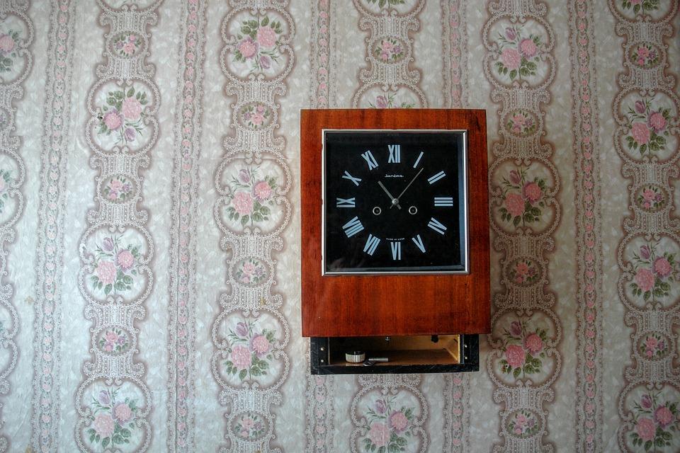 Still Life Clock Retro Wallpaper 70th Antique