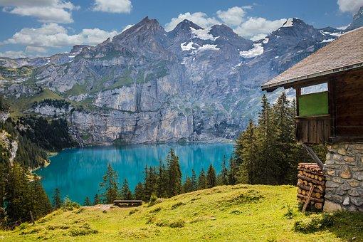 Lac, Montagnes, Cabane, Lac De Montagne