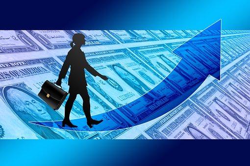 Businesswoman, Briefcase, Success, Curve