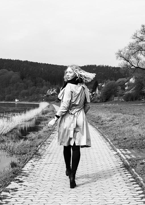 Model, Weser, Water, Path, Look Back, Woman, Go, Coat