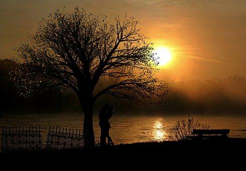 Lovers, Pair, Love, Sunset, Romance