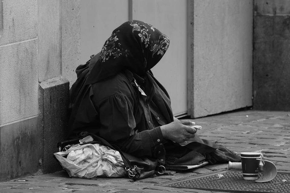 Попрошайничество, Женщина, Бедность, Милостыня, Нищий