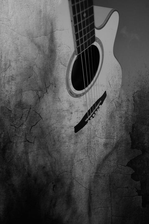 guitare noir et blanc