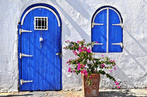 Bodrum, Casa, Porta, Blue, Flor-De-Rosa