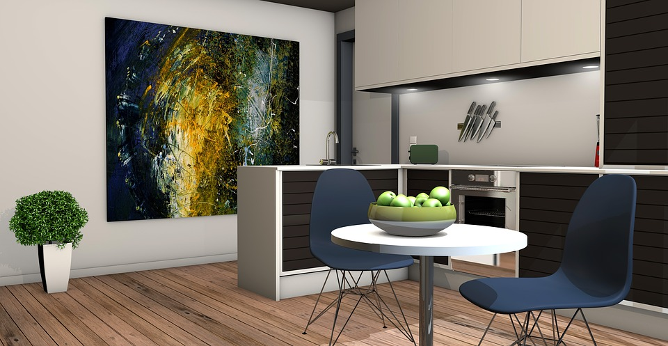 Kitchen, Living Room, Apartment, Rendering