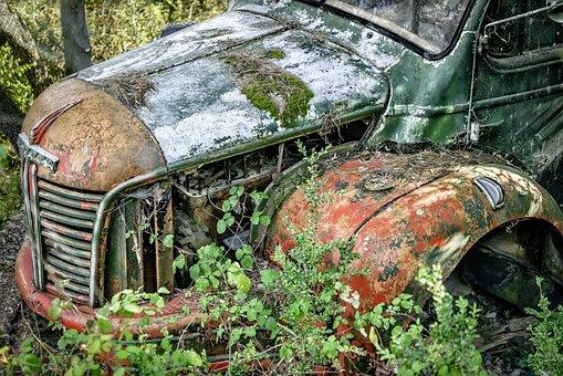 truck abandoned car broken rusty