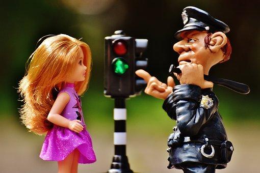 警察, 子, 学ぶ, 道路のルール, 信号, 啓発, 保護, セキュリティ