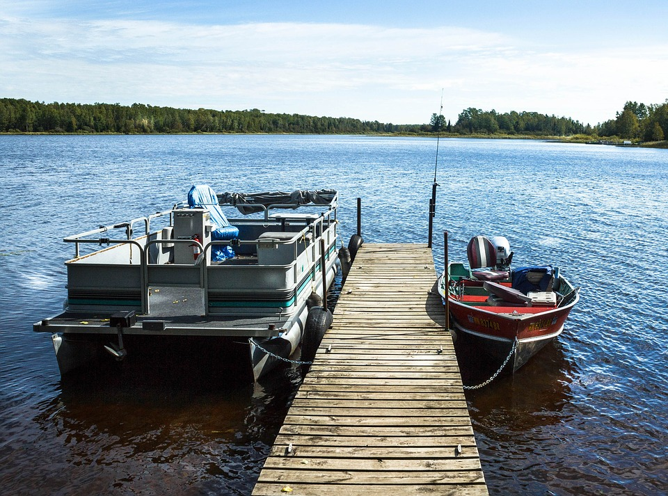 Free photo pontoon boat fishing boat free image on for Lake fishing boats