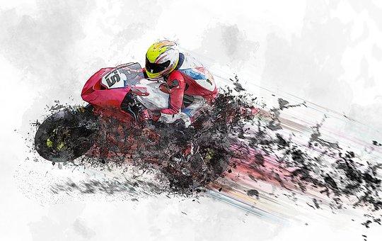 オートバイ, 速度, ヘルメット, オートバイのライダー, モーター バイク
