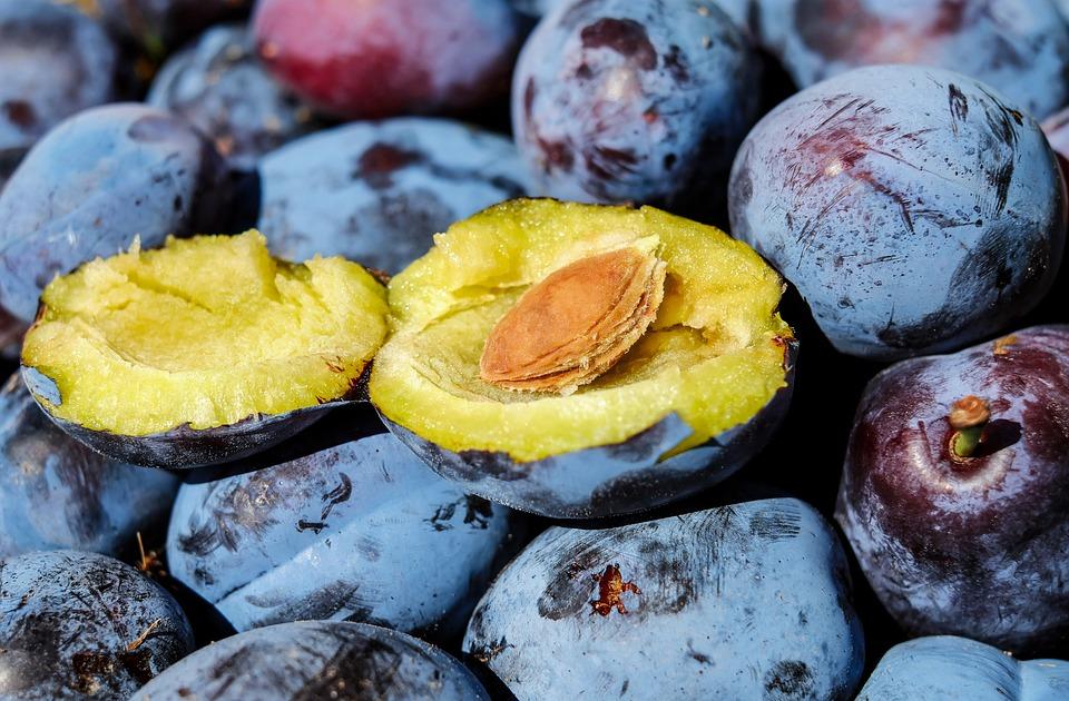 Szilva, Gyümölcs, Félbevágják, Stone, Szilva Kő