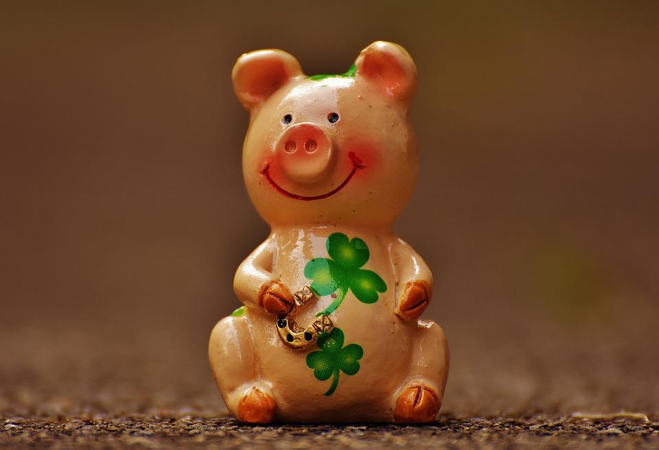 幸運な豚, フィギュア, 運, 幸運のお守り, 面白い, ラッキー豚, 甘い, 動物, かわいい, ピンク