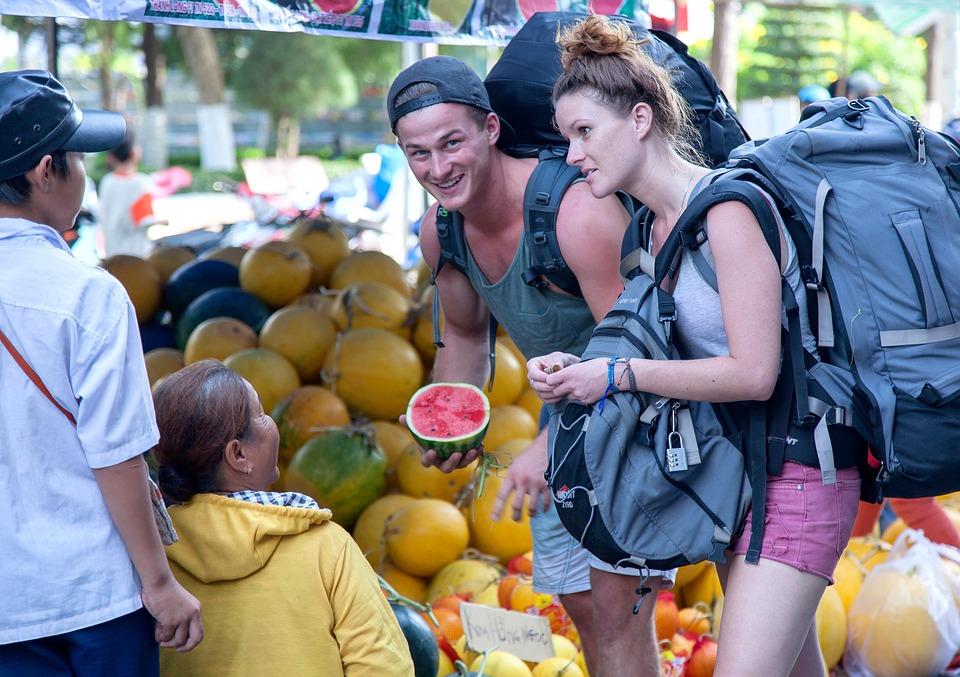 ベトナムの観光, スイカ, バックパッカー, アニバーサリーツアー, 市場, Byingフルーツ