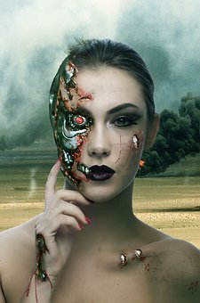 Technology Terminator Woman Face Scars Tra