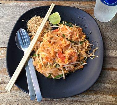 食べる, パッドタイ, アジア