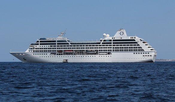 A cruise ship on the high sea