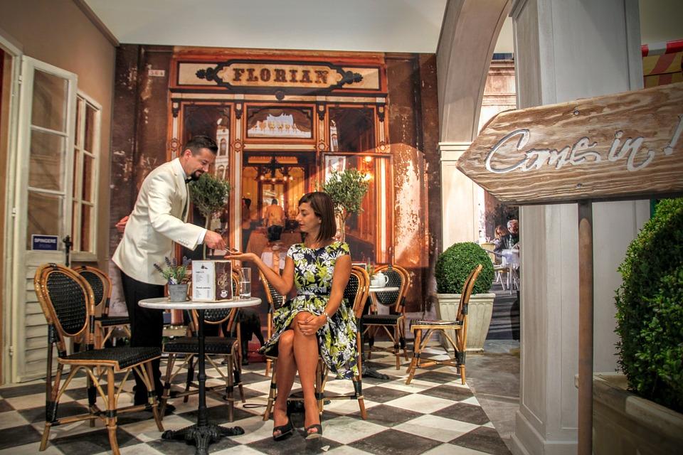 咖啡馆, 服务员, 操作, 调情, Kundin, 怀旧之情, 怀旧, 年份, 复古, 老, 时尚, 美食