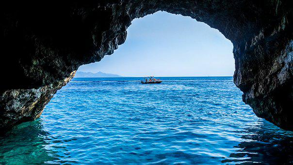 Cave, Sea, Blue Caves, Greece, Zakynthos