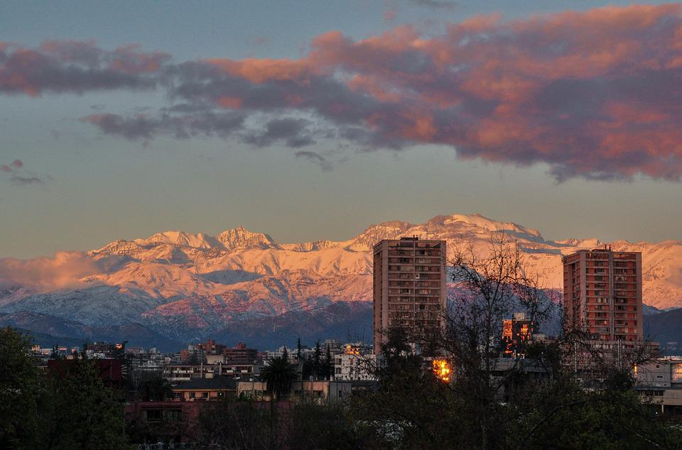 Snowy Mountains, City, Sunset, Chile, Santiago