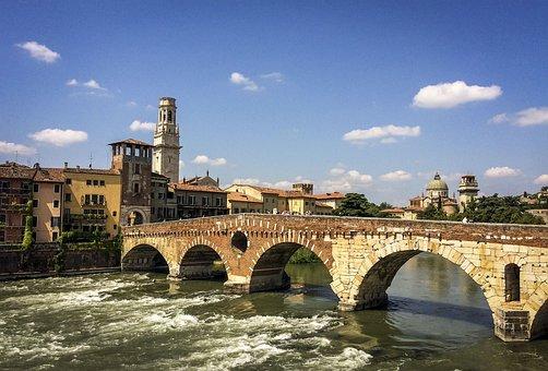 Verona, City, River, Church, Bridge