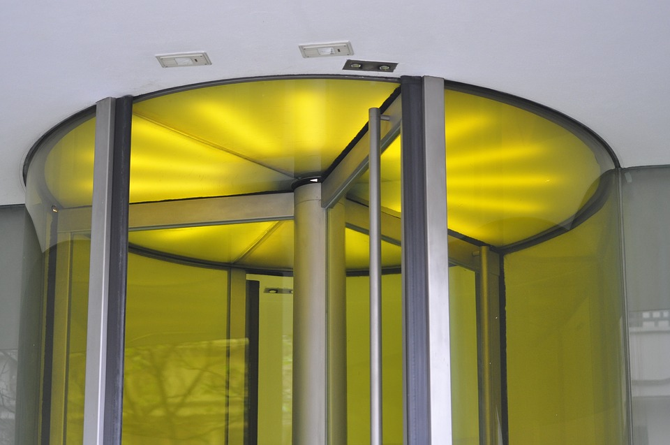 Rotating Door Architecture Modern Yellow Light