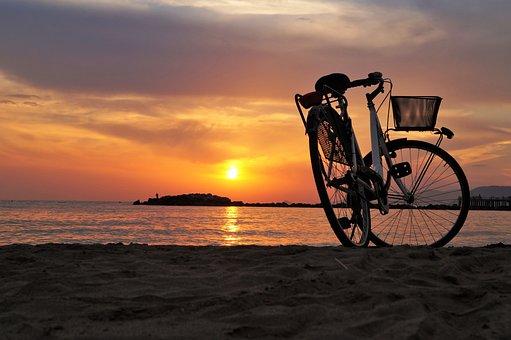Bici Bicicleta Velocpedo Playa Mar Puesta