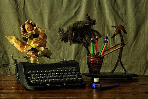 To Write, Machine, Desk, Flowers
