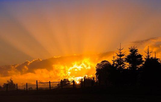 Sunrise, Sun, Sunbeam, Sky, Skies, Rays