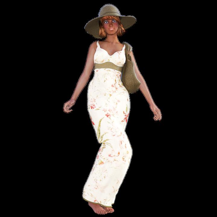 Woman, Summer, Dress, Hat, Girl, Bag